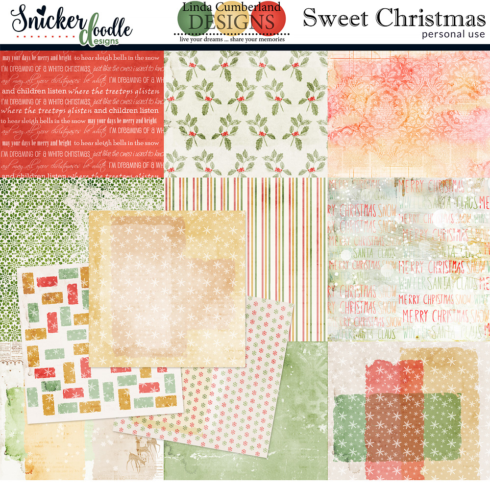 Sweet Christmas Kit Papers by Snickerdoodle Designs and Linda Cumberland Designs