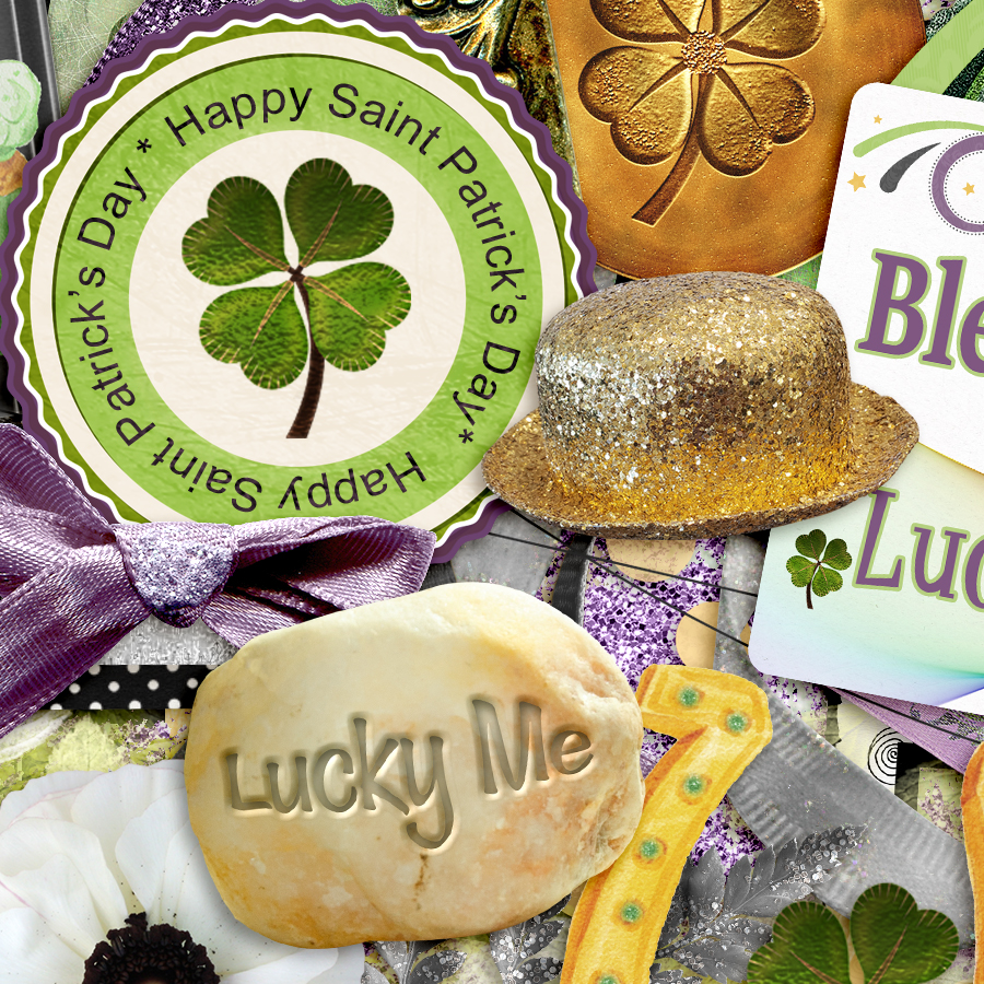 Lucky Me Digital Scrapbooking Kit Detail by Snickerdoodle Designs