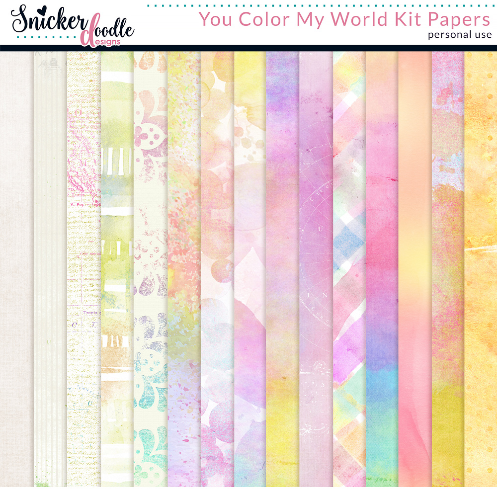 You Color My World Kit Papers by Snickerdoodle Designs