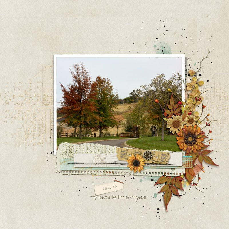 Autumn Breeze Digital Scrapbook Bundle by Vicki Robinson Layout 01