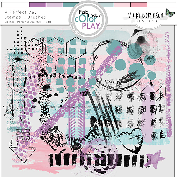 A Perfect Day Stamp + Brushes by Vicki Robinson