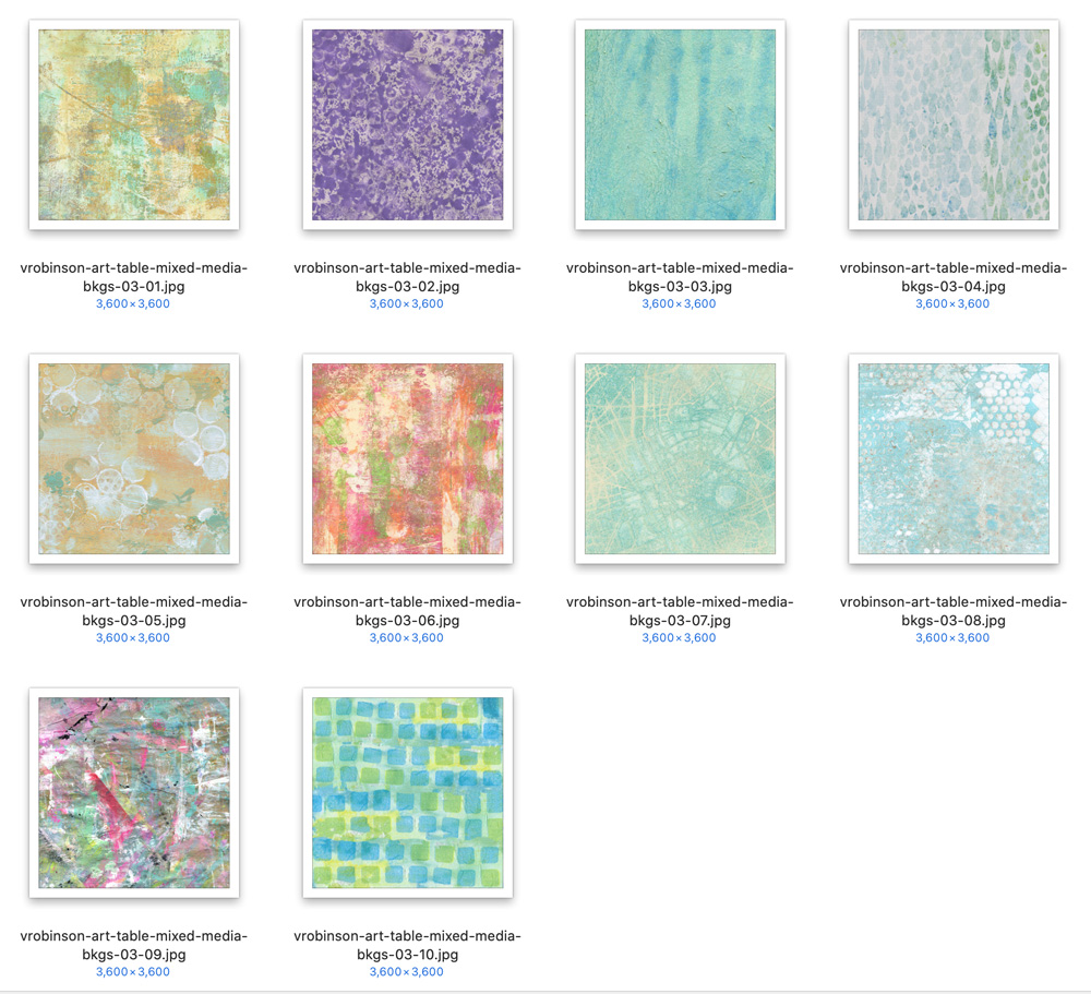 Art Table Mixed Media Backgrounds by Vicki Robinson Detail Image