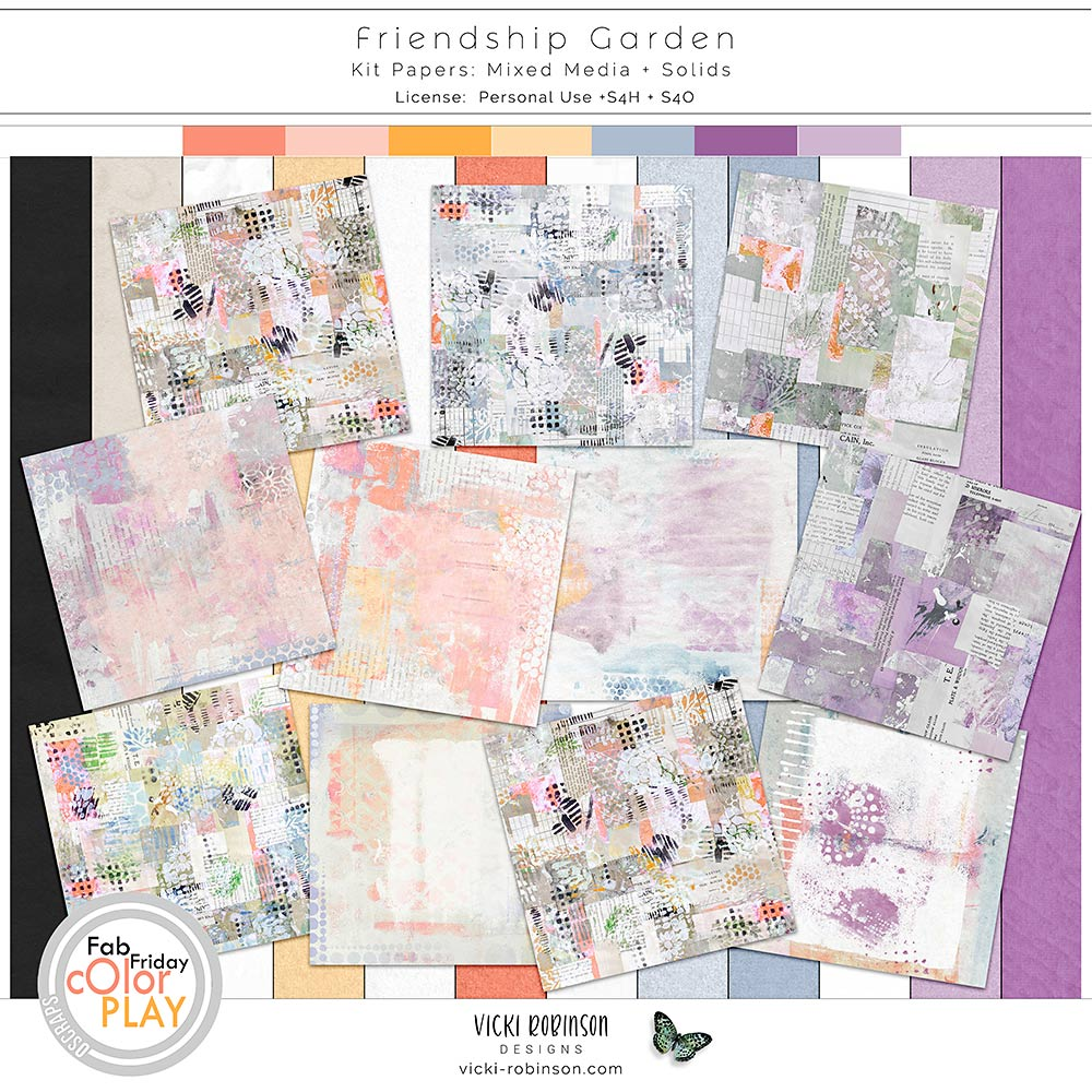 Friendship Garden Kit Papers by Vicki Robinson