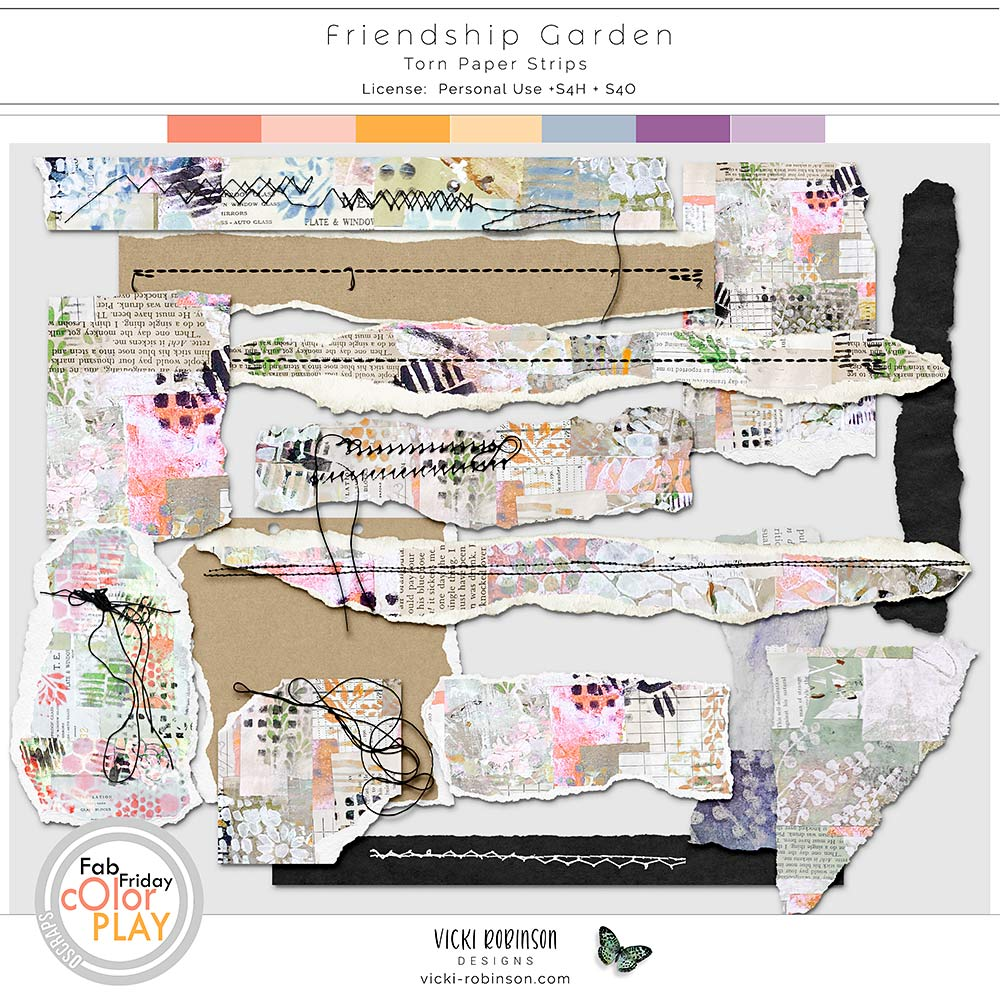 Friendship Garden Torn Papers by Vicki Robinson