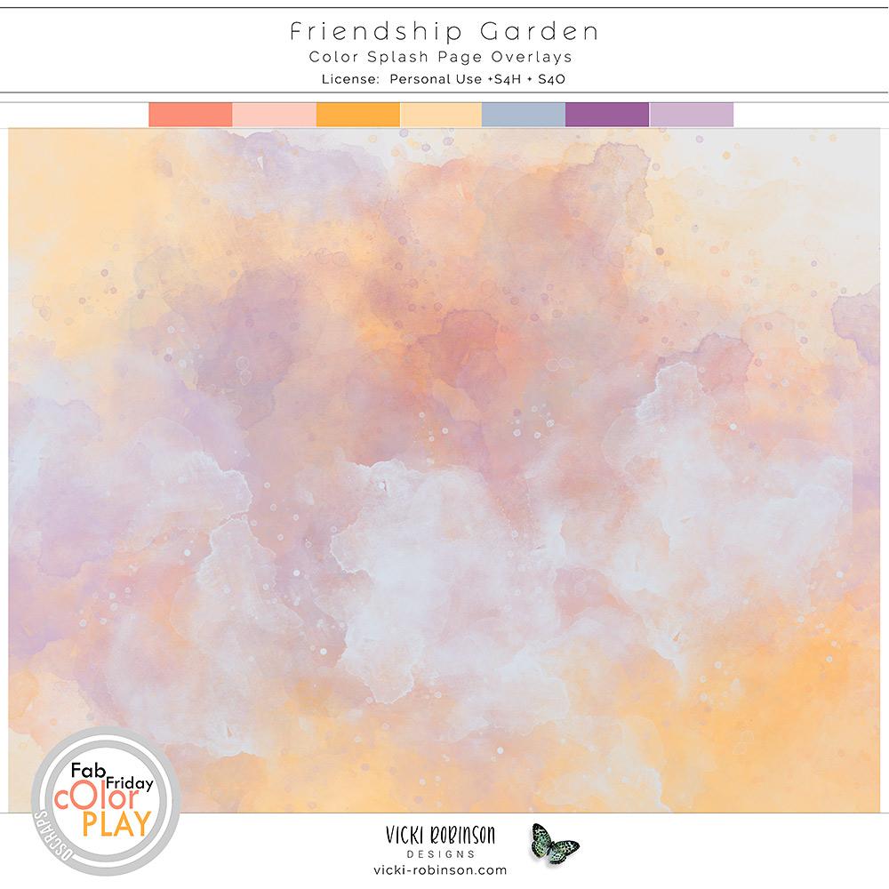 Friendship Garden Color Splash Page Overlays by Vicki Robinson