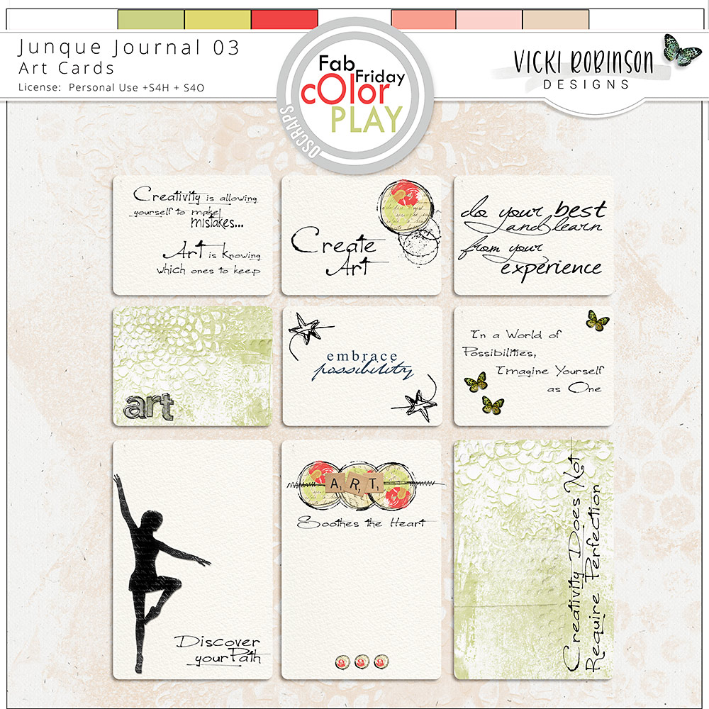 Junque Journal 03 Art Cards by Vicki Robinson Designs