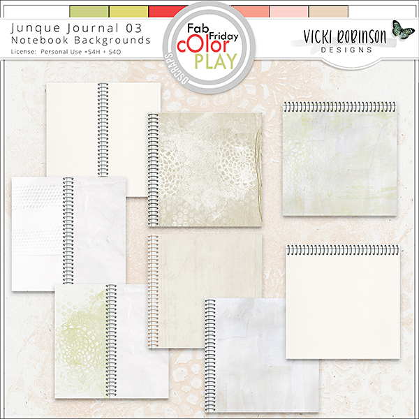 Junque Journal 03 Notebook Papers by Vicki Robinson Designs