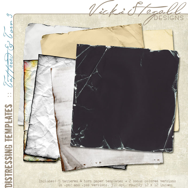 Vicki Stegall - Tattered & Torn 3 Distressing Templates preview
