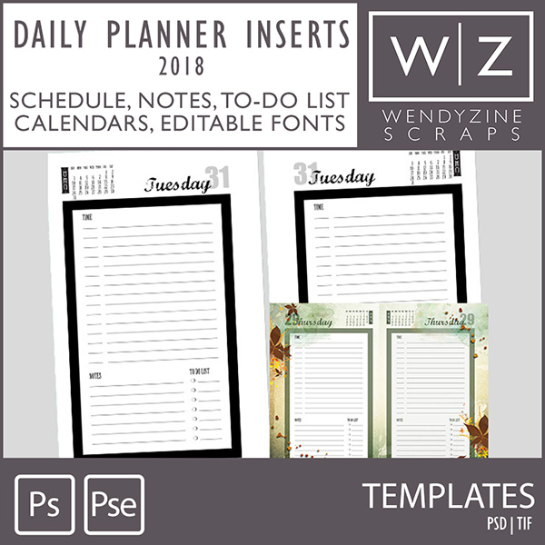 2018 daily planner template
