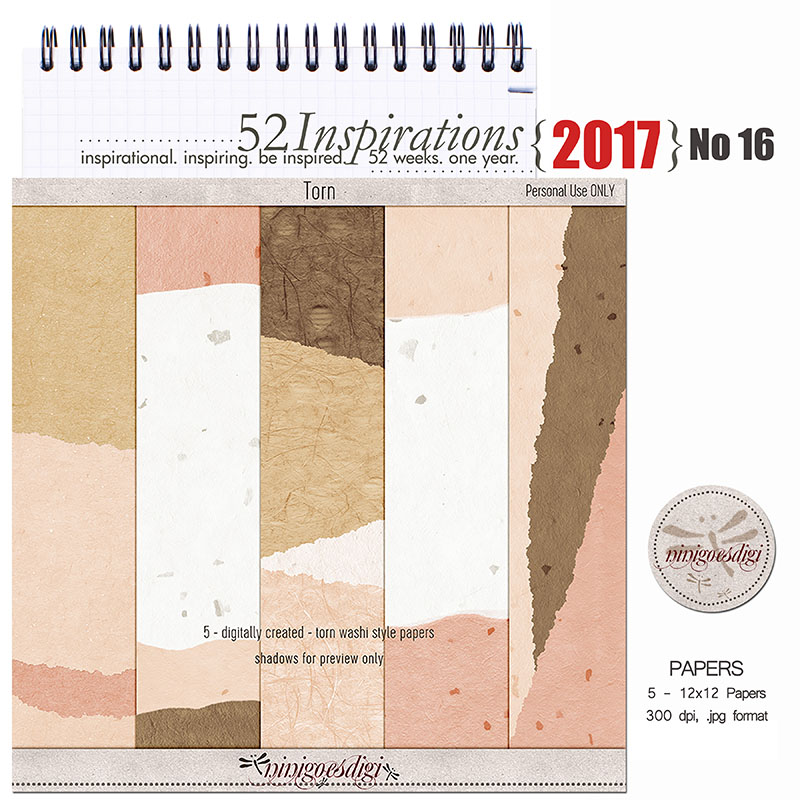 52 Inspirations 2017 - no 16 by ninigoesdigi - Torn Papers