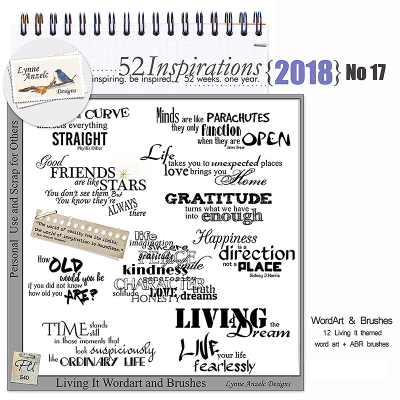 52 Inspirations 2018 No 17 Living It Wordart and Brushes