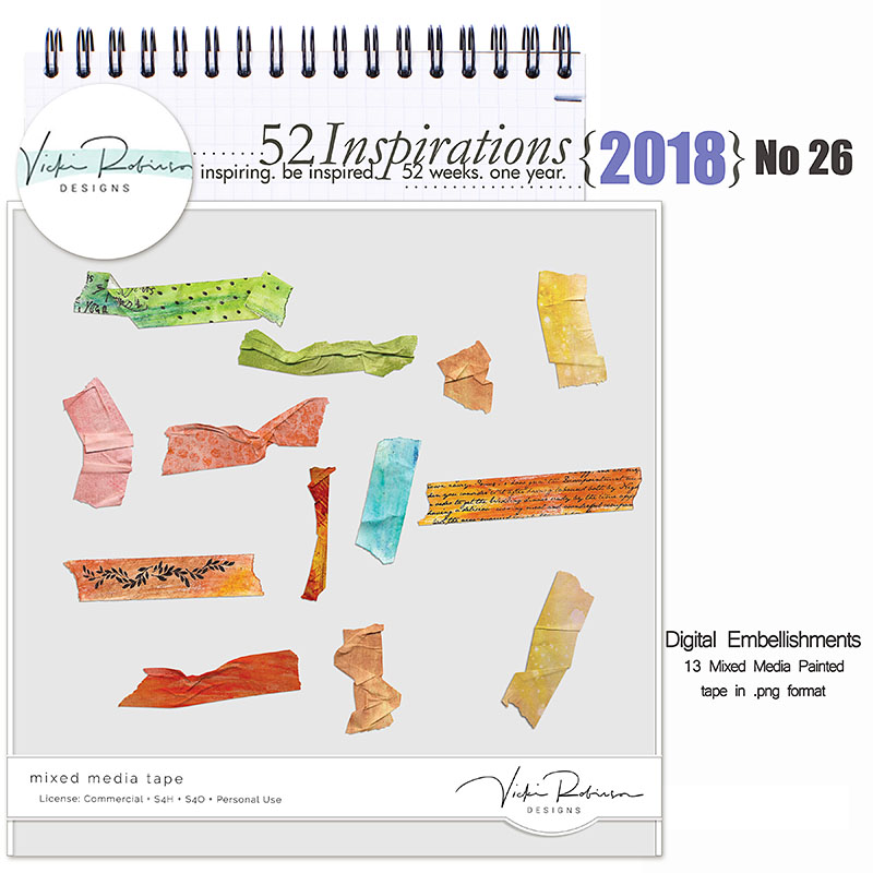 52 Inspirations 2018 -  No 26 Mixed Media Tape  by Vicki Robinson
