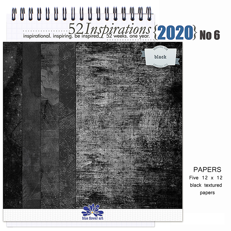 52 Inspirations 2020 No 06 Black Papers 01 by Blue Flower Art