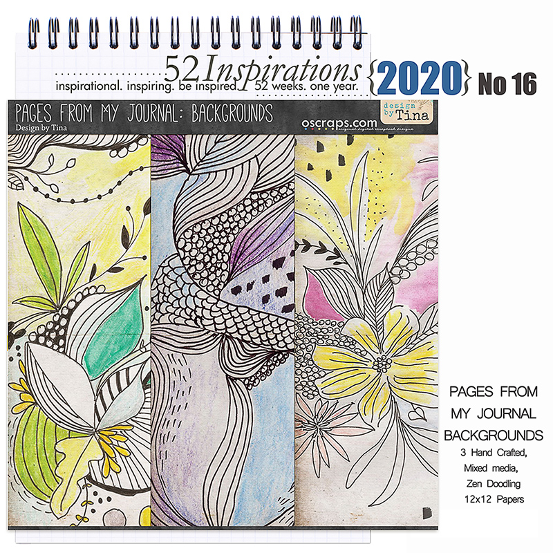 52 Inspirations 2020 No 16 Pages from my Art Journal Papers by Design by Tina