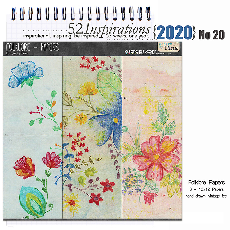 52 Inspirations 2020 No 20 Folklore Papers Pack by Design by Tina