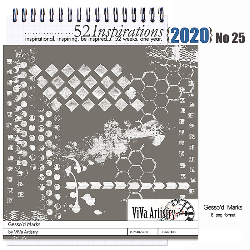 52 Inspirations 2020  No 25 Gesso Marks by ViVa Artistry