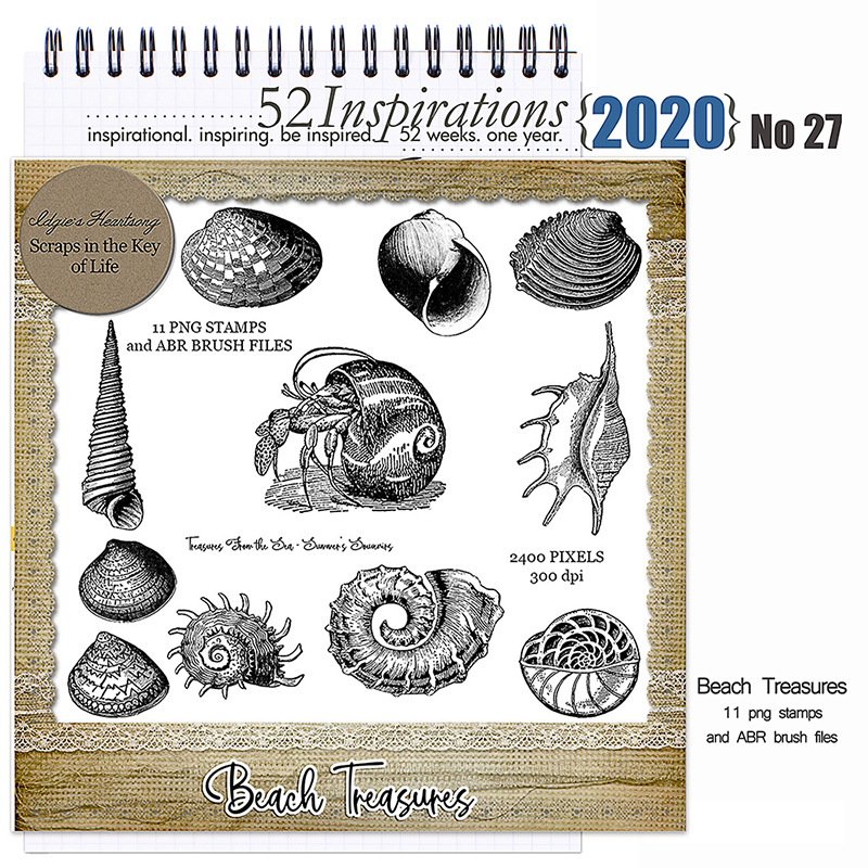 52 Inspirations 2020 No 27 Beach Treasures Stamps by Idgie's Heartsong