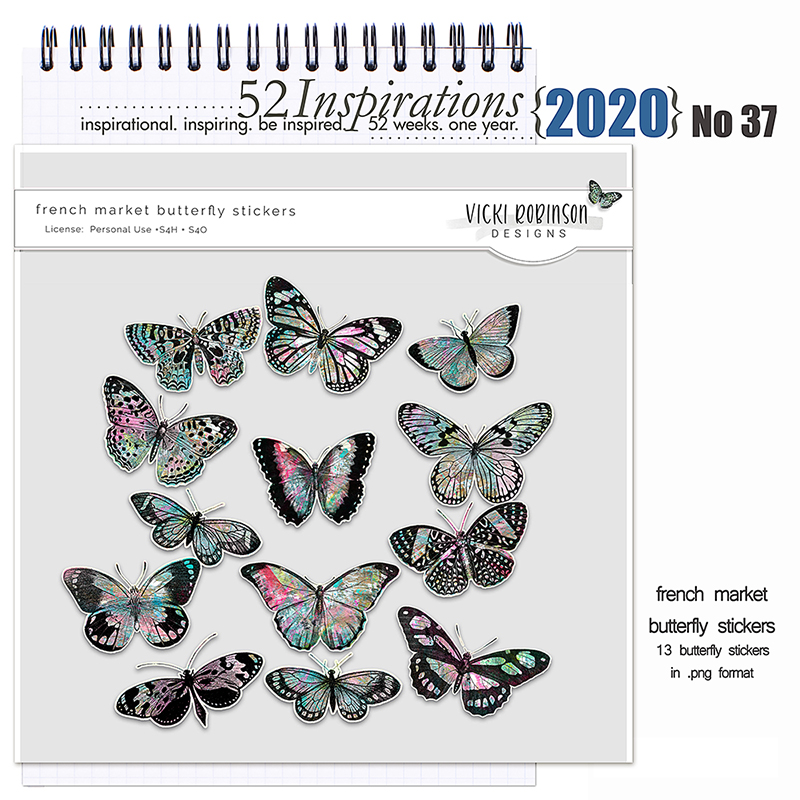 52 Inspirations 2020 no 37 French Market Butterflies by Vicki Robinson