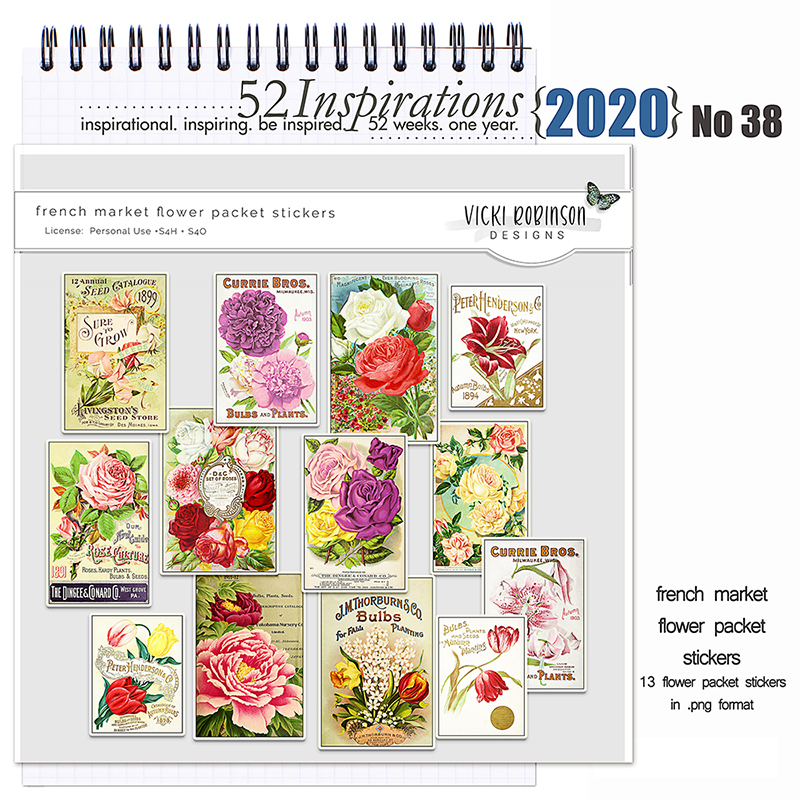 52 Inspirations 2020 no 38 French Market Flower Packets by Vicki Robinson