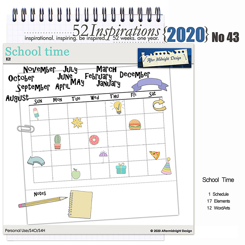 52 Inspirations 2020 No 43 School Time Mini Kit by Aftermidnight Design
