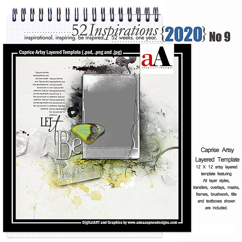 52 Inspirations 2020 Caprise Artsy Layered Template by Anna Aspnes