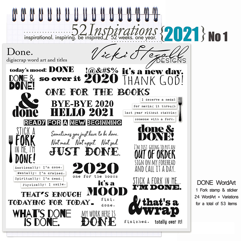 52 Inspirations 2021 No 01 Done Word Art by Vicki Stegall