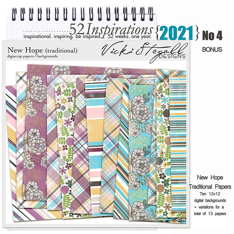 52 Inspirations 2021 No 04 Bonus New Hope Traditional Scrapbook Papers