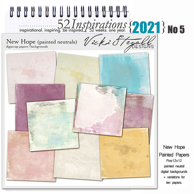 52 Inspirations 2021 No 05 New Hope Painted Scrapbook Papers