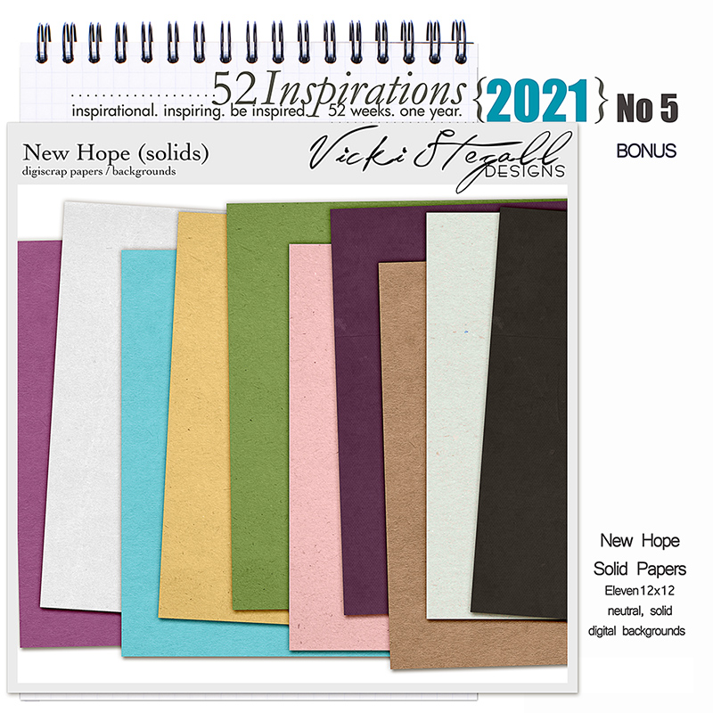 52 Inspirations 2021 No 05 Bonus New Hope Solid Scrapbook Papers by Vicki Stegall