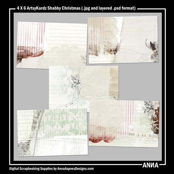 4 X 6 ArtsyKardz Shabby Christmas