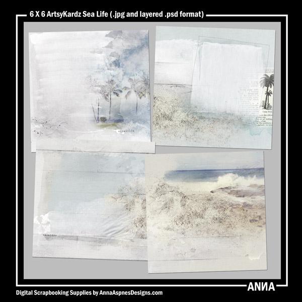 6 X 6 ArtsyKardz Sea Life