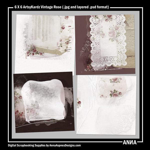 6 X 6 ArtsyKardz Vintage Rose