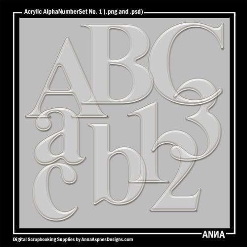 Acrylic AlphaNumberSet No. 1
