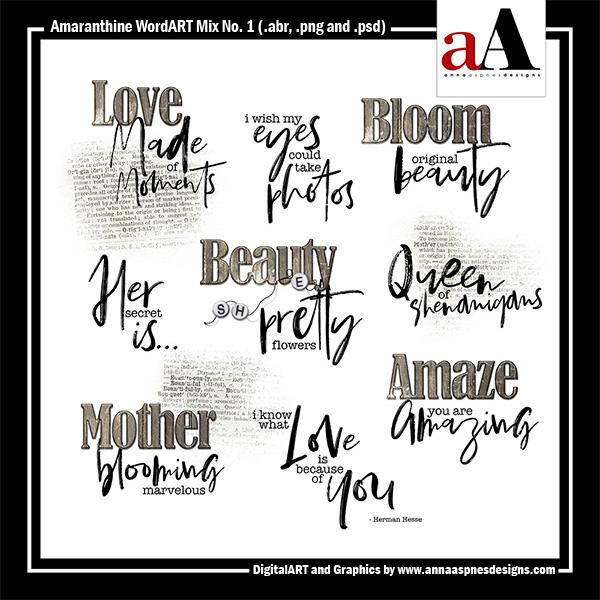 Amaranthine WordART Mix No. 1