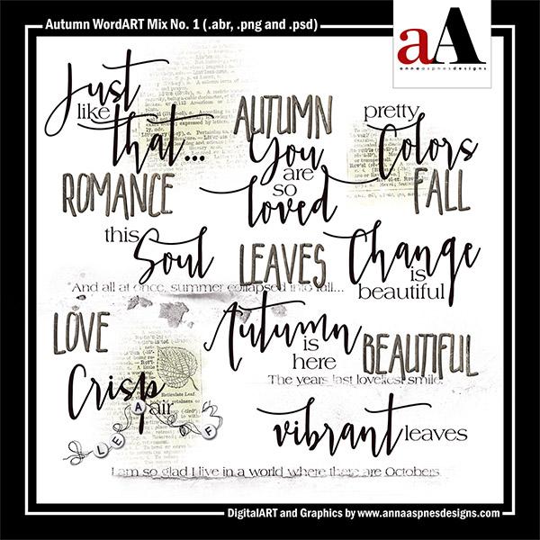 Autumn WordART Mix No. 1