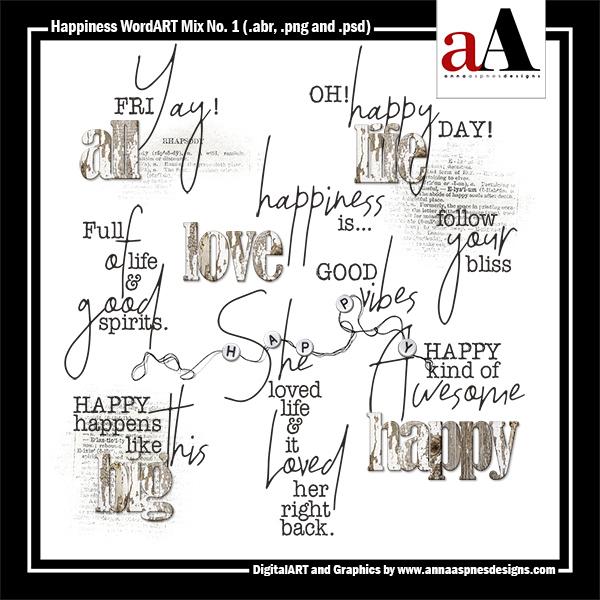 Happiness WordART Mix No. 1