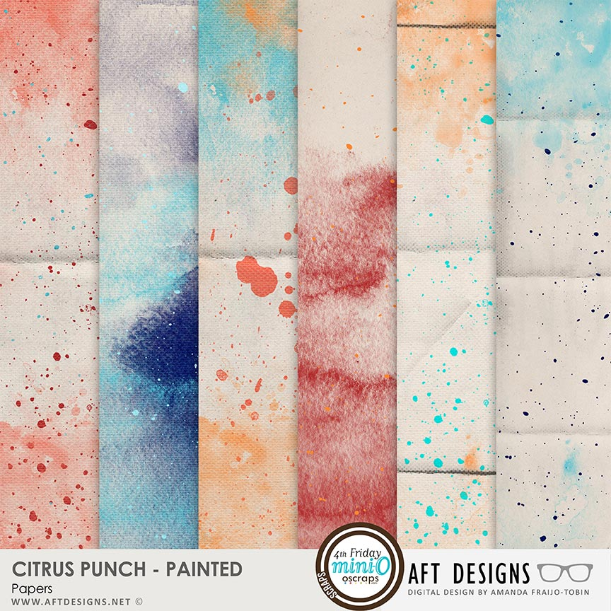 Citrus Punch Painted Papers