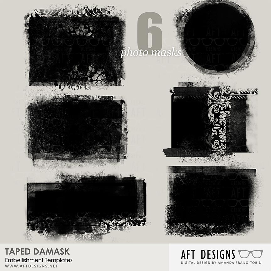 Masks - Taped Damask Embellishment Templates