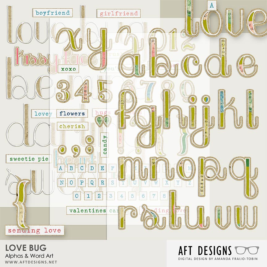 Love Bug Alphas & Word Art