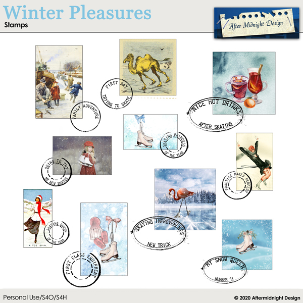 Winter Pleasures Stamps