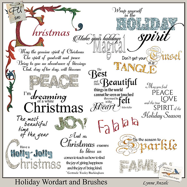 Holiday Wordart and Brushes
