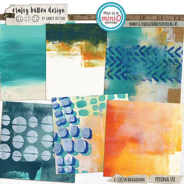 Amber and Indigo Hand Painted Backgrounds Vol1