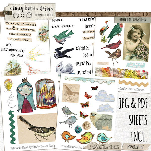 Free Bird Collage Sheets