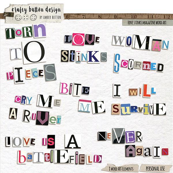 Love Stinks Magazine Word Art