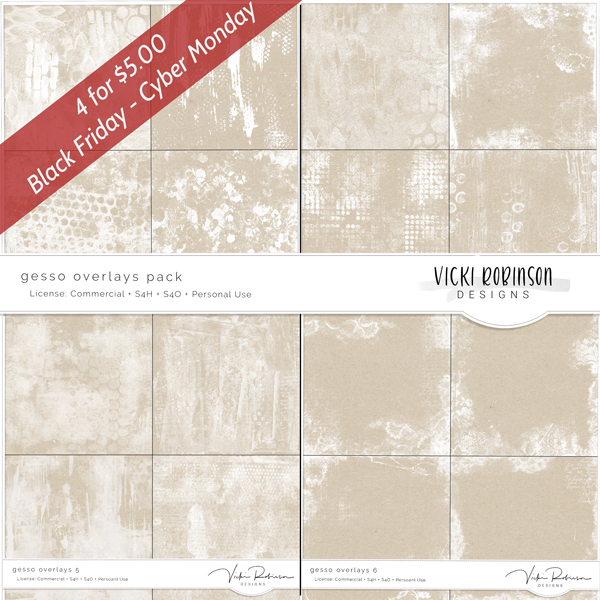 Gesso Overlay Pack -  4/$5 Black Friday Special