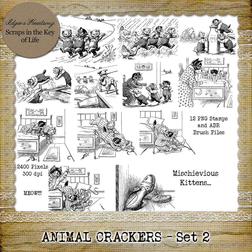 ANIMAL CRACKERS - Set 2 - 12 PNG Stamps and ABR Brushes by Idgie's Heartsong