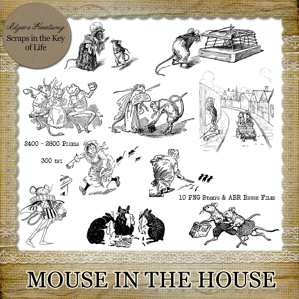 Mouse in the House - 10 PNG Stamps and ABR Brushes by Idgie's Heartsong
