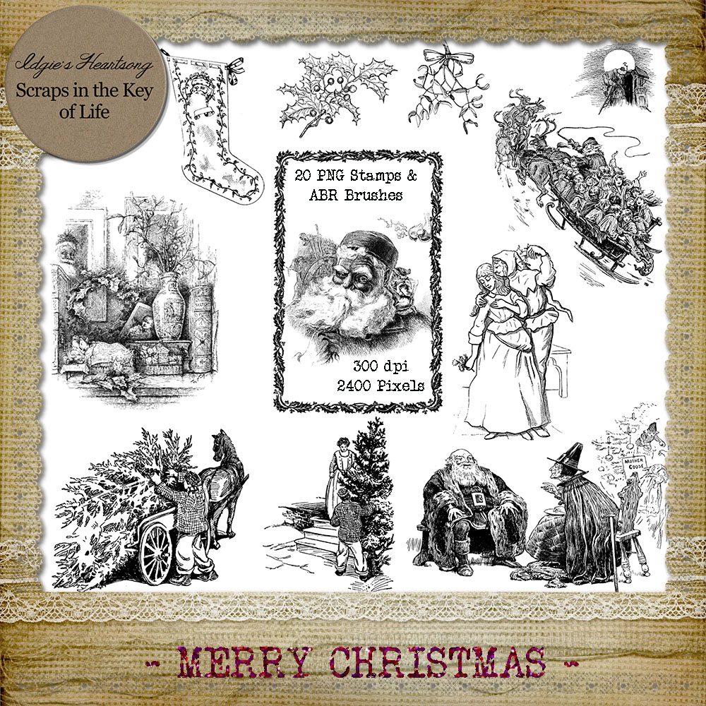Merry Christmas - 11 PNG Stamps and ABR Brush Files
