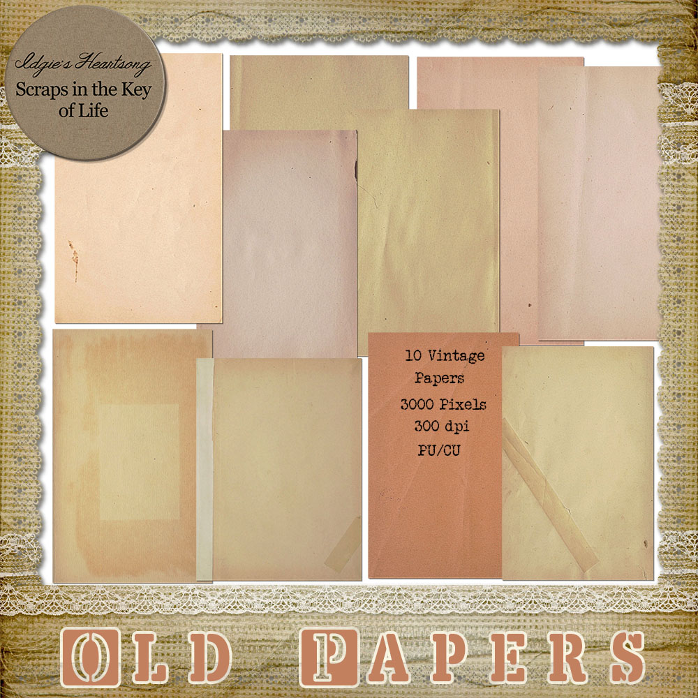 10 Vintage PNG Blank Papers For Personal or Commercial Use by Idgie's Heartsong