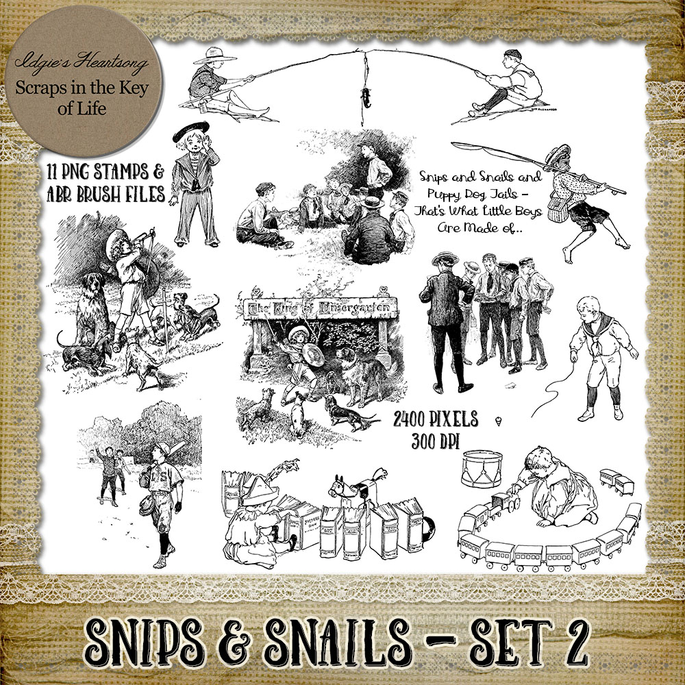 SNIPS & SNAILS - Set 2 - 11 PNG Stamps and ABR Brushes by Idgie's Heartsong